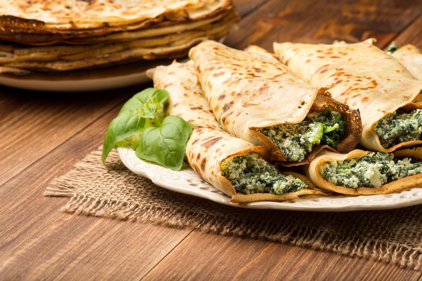 Isteni, sós palacsinta sajtos, spenótos töltelékkel: főételnek is tökéletes