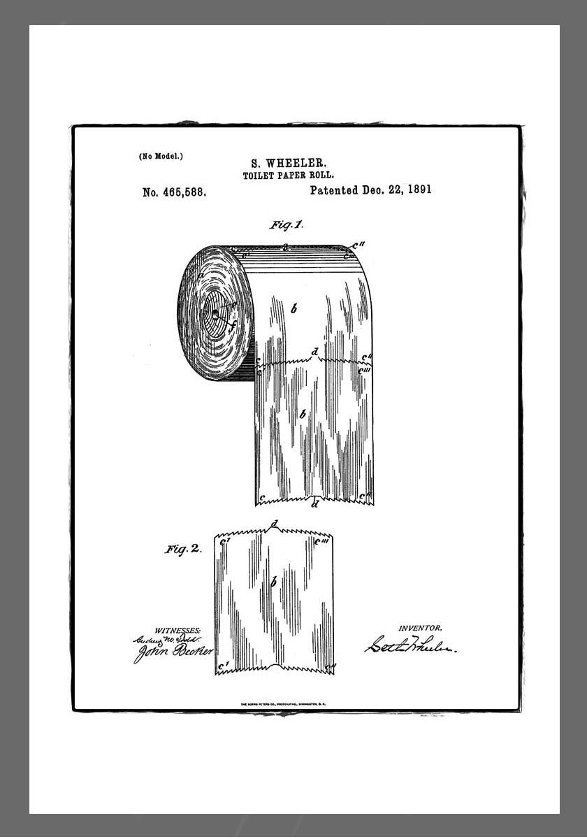 Wheeler toalettpapír-szabadalmi ábrája.