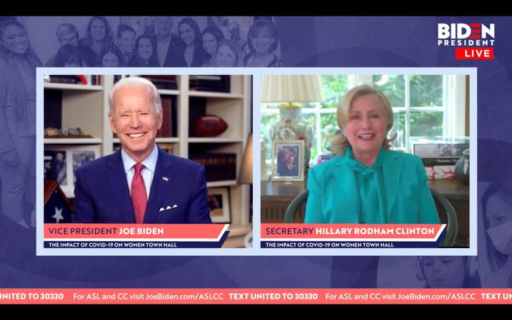 Joe Biden otthonából bejelentkezve beszélget Hillary Clintonnal 2020. április 28-án