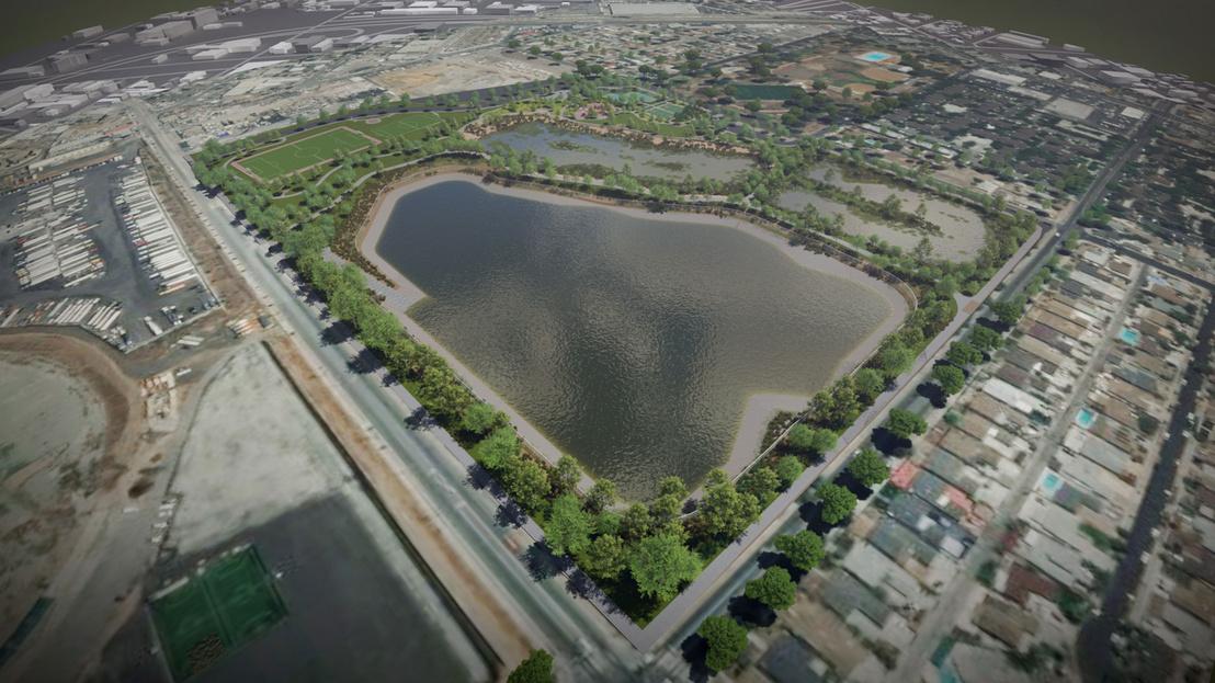 Látványterv a Los Angeles területére tervezett Rory M. Shaw Wetlands Park projektről, ahol a város egy semleges hulladéklerakót alakítana át vizes parkká, az árvízkockázat csökkentése és az esővíz összegyűjtése érdekében