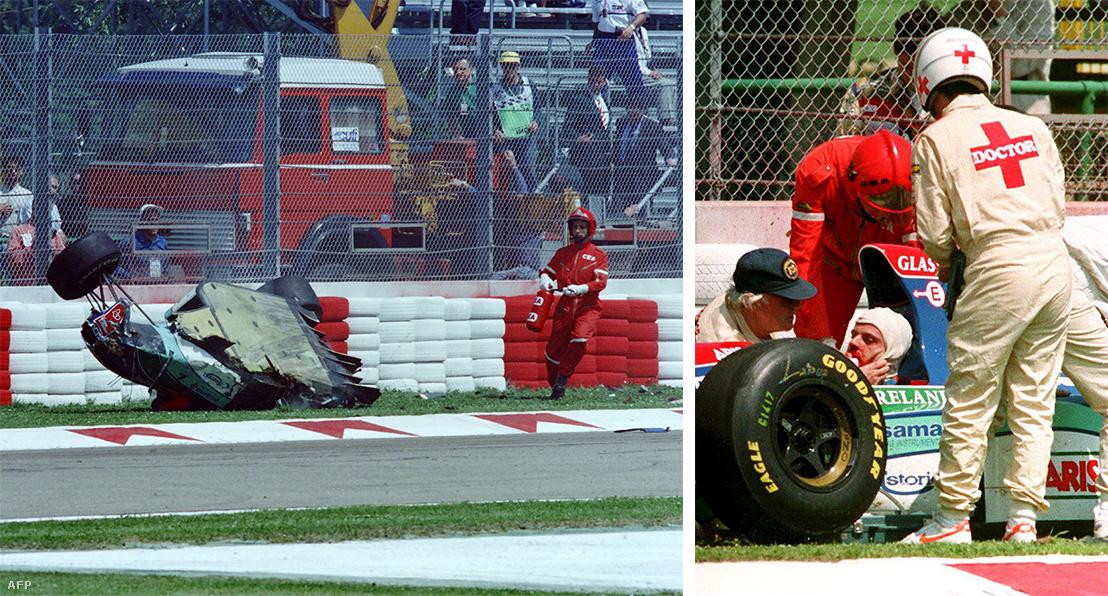 A baleset utáni pillanatok, jobbra, ahogy Sid Watkins, az orvoscsapat vezetője kezeli Barrichellót, aki a nyelvét is lenyelte a nagy erejű ütközésben
