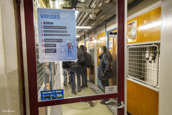 Általában a téli járványos időszakra figyelmeztető plakát a CERN-ben, január végén
