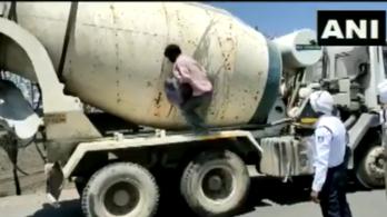Indiában 18 vendégmunkás egy betonkeverőbe bújva próbált meg hazajutni a kijárási tilalom közepén