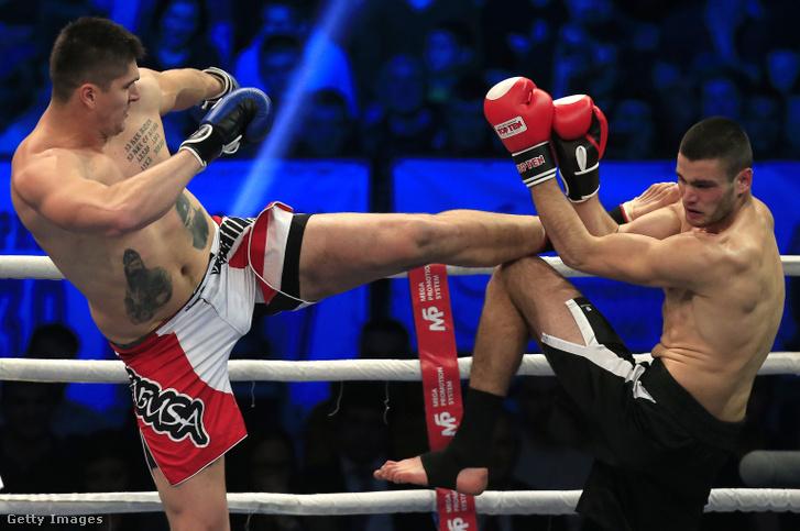 Miličić (b) a 2014-es kickboxmeccsén