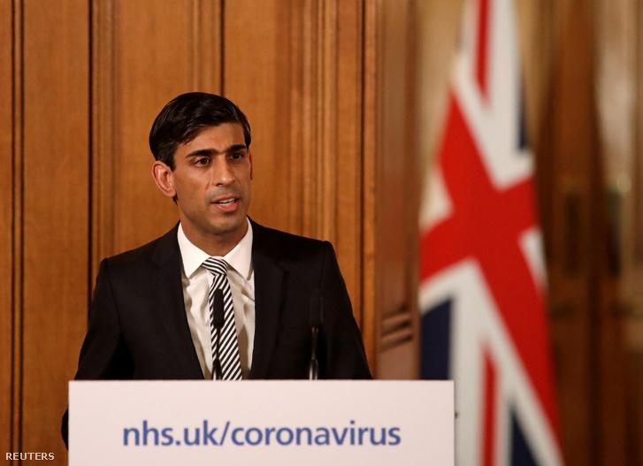 Rishi Sunak brit pénzügyminszter tart sajtótájkoztatót a koronavírus-járvánnyal kapcsolatos gazdasági intézkedésekről 2020. március 17-én