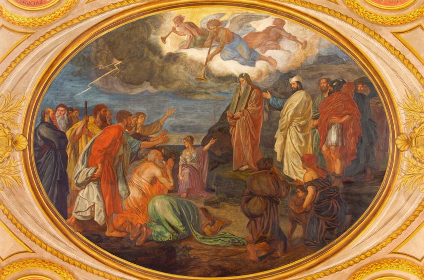 A bécsi Schottenfeld templom freskója Mózesről a Sínai-hegynél.