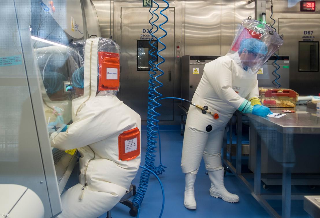 Kutatók a vuhani P4 laboratóriumban 2017. február 23-án.