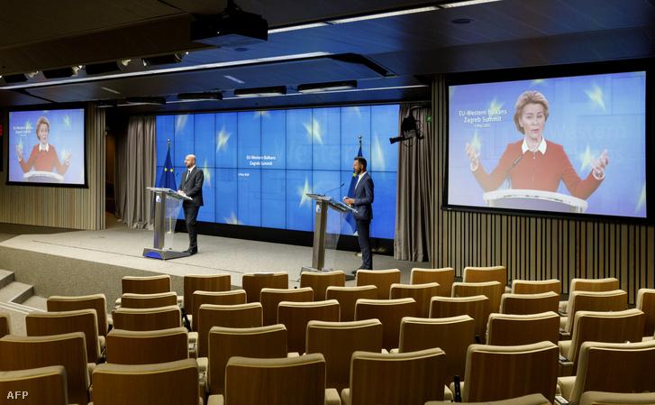 Charles Michel az EU-Nyugat-Balkán videokonferencia-csúcstalálkozóján 2020. május 6-án.