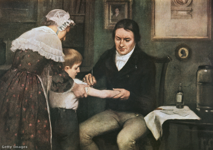 Dr. Edward Jenner elvégzi az első fekete himlő elleni oltást.