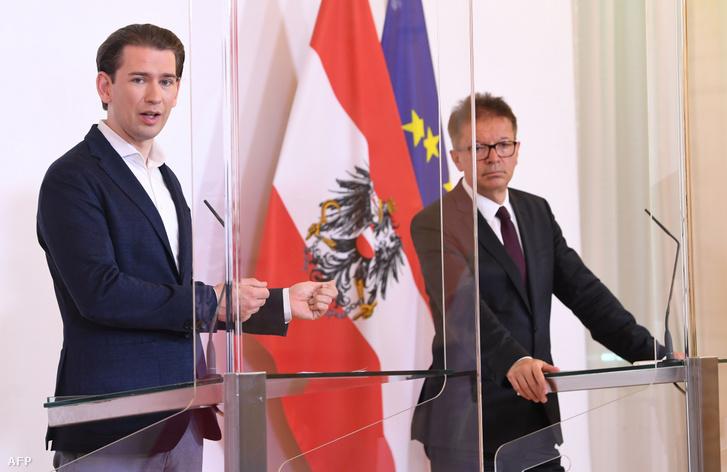Sebastian Kurz és Rudolf Anschober egészségügyi miniszter 2020. május 8-án.