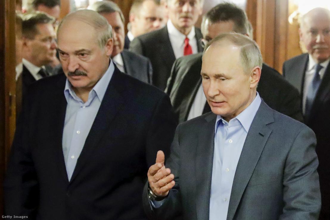Alekszandr Lukasenko és Vlagyimir Putyin Szocsiban 2020. február 7-én