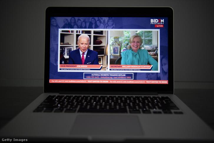 Joe Biden és Hillary Clinton beszél egy online videostreamen 2020 április 28-án.