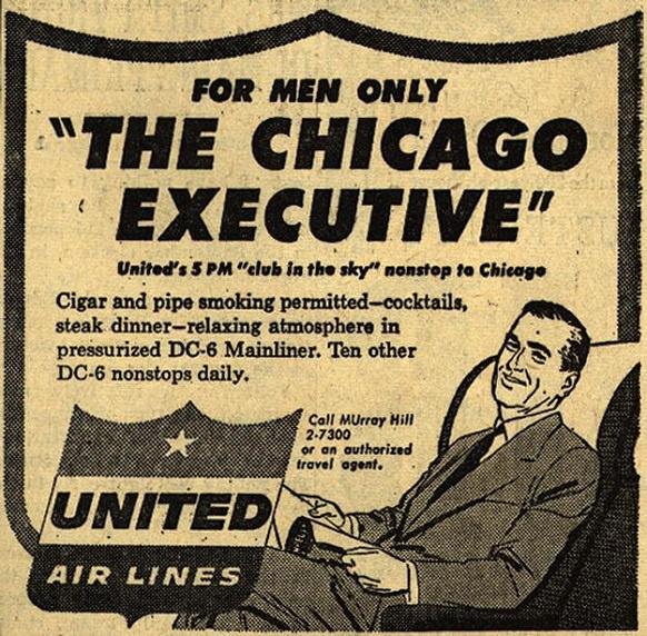 A kizárólag férfiaknak fenntartott üzleti járatok újságreklámja