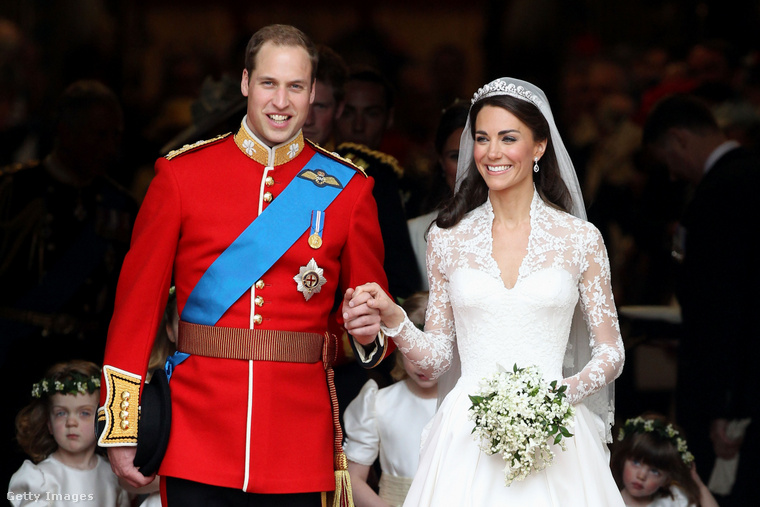 Vilmos herceg és Katalin hercegné az esküvőjükön.