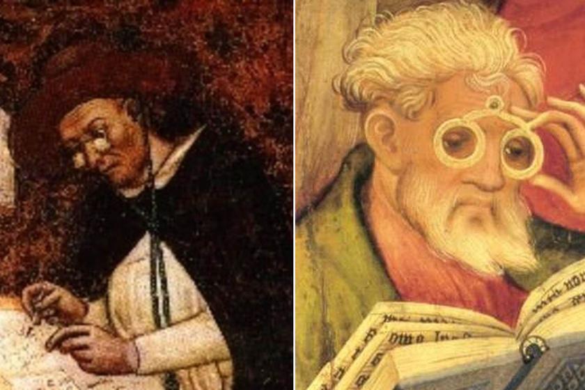 Balra az első ismert szemüveges kép a kardinálisról, jobbra az oltárképrészlet, Conrad von Soest 1403-as alkotása.