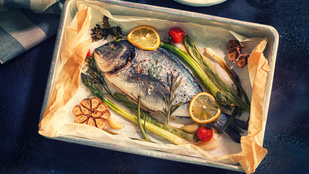 Mediterrán sült hal cukkinivel és szárított paradicsommal