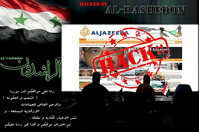 Az al-Dzsazíra feltört nyitólapja