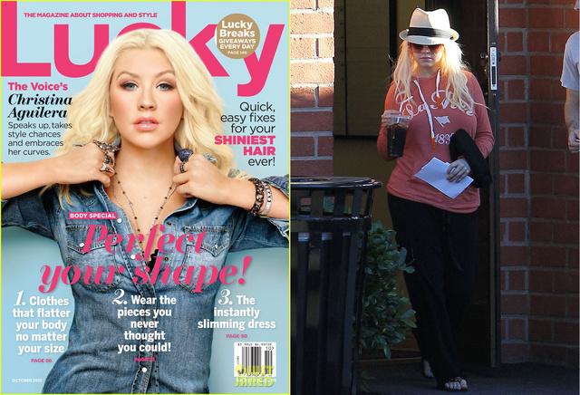 Christina Aguilera a Lucky magazin címlapján és háziorvosa rendelője előtt.