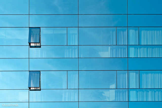 stockfresh 205304 reflection-in-an-office-building-glass-wall si