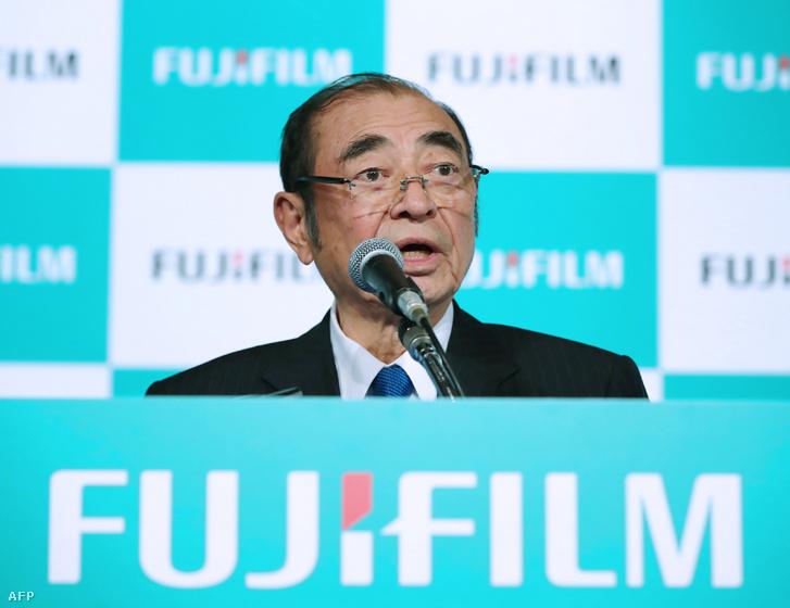 Komori Shigetaka a Fujifilm sajtótájékoztatóján 2018. január 30-én, Tokióban.