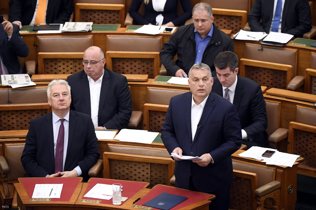 Prime Minister Viktor Orbán speaking in the Parliament on 23 March 2020.