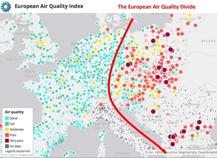 Szmogfüggöny választja ketté Európát. 2017-es adatok Julian Popov, az ECF munkatársa által közzétett képen.