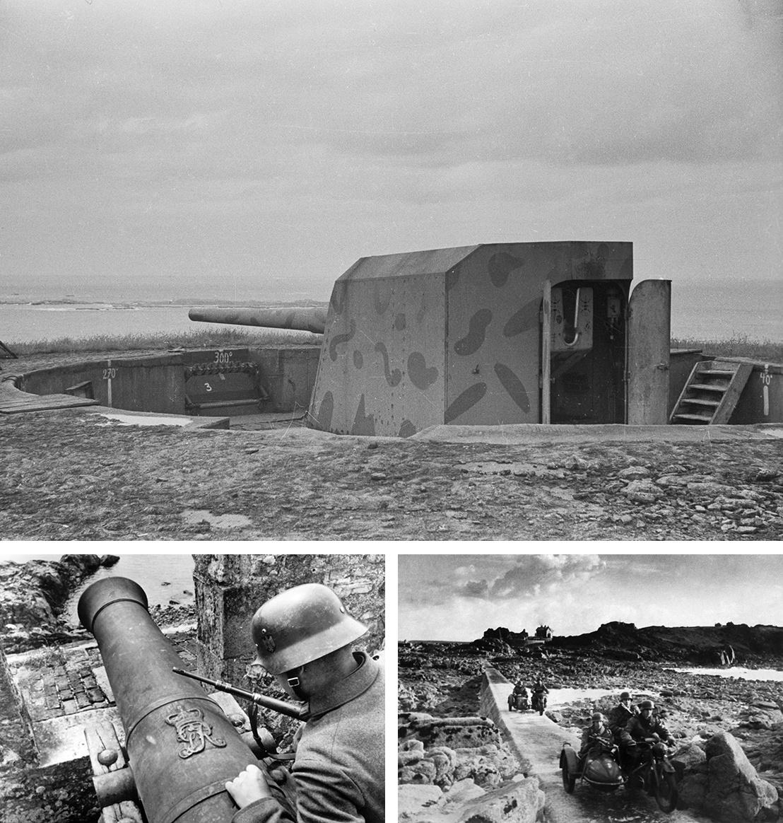 Fent: 150 mm-es ágyú a szigetcsoporthoz tartozó Saint Anne szigeten - Bal: Német katona egy középkori brit ágyú mellett a szigetcsoport elfoglalása után - Jobb: Német motoros járőrök Jersey partjainál 1941-ben