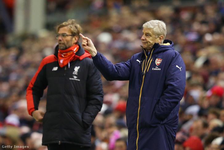 Jürgen Klopp és Arséne Wenger a Livberpool és az Arsenal meccsén 2016. január 13-án, Liverpoolban.