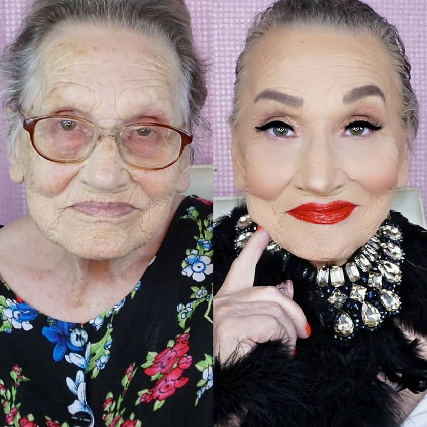 A sminknek hála a 84 éves Livia szinte teljesen átváltozott, még a mély ráncai és karikái is szinte eltűntek, a műszempilla pedig kiemeli a szép szemeit.