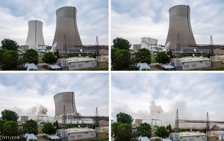 Az EnBW energiaszolgáltató által közreadott kombóképen robbantással bontják le a már működésen kívüli philippsburgi atomerőmű hűtőtornyait 2020. május 14-én
