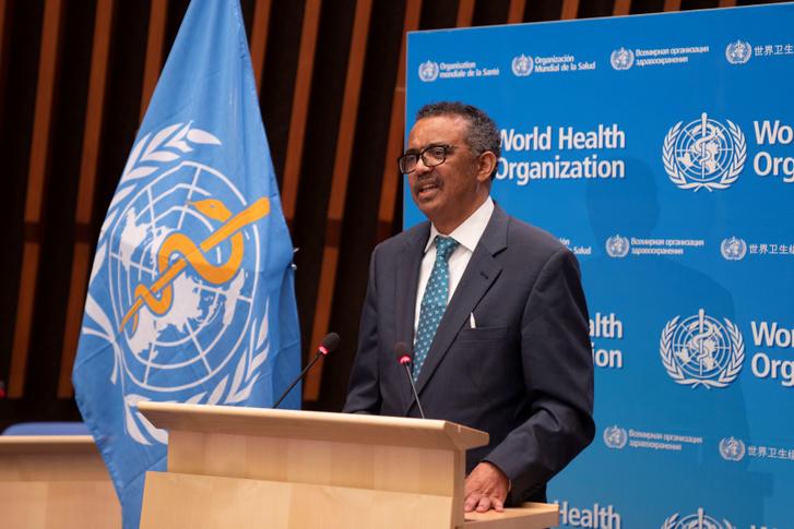Tedros Adhanom a WHO igazgatója beszél a 73. Világegészségügyi Gyűlésen 2020. május 18-án.