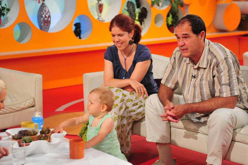 Kerekes József és felesége 2011 augusztusában 11 hónapos kislányukkal a Reggeli című műsorban.