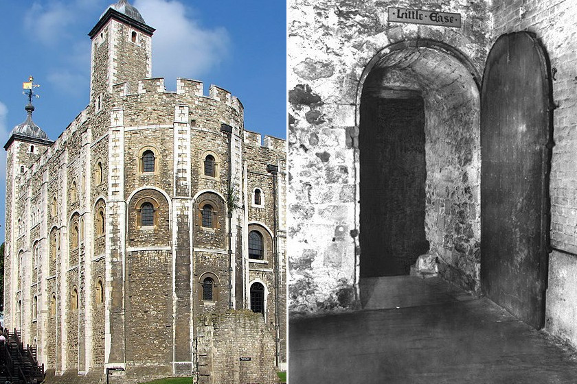 A Tower és a turisták kedvéért kialakított Little Ease.