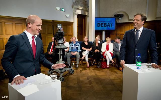 A PvdA jelöltje, Diederik Samsom (bal) és Alexander Pechtold (D66) vitája.