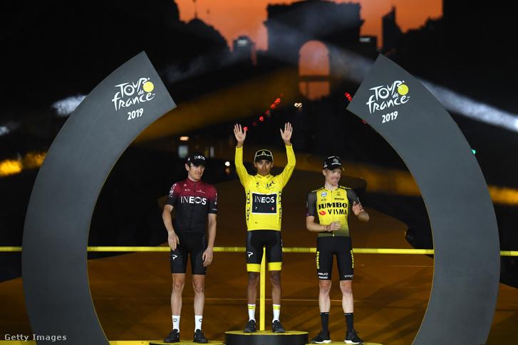 A 2019-es Tour de France dobogóján Geraint Thomas, a győztes Egan Bernal és Steven Kruijswijk
