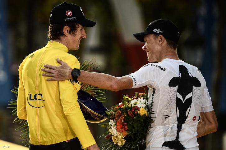 Chris Froome gratulál Geraint Thomas 2018-as Tour de France győzelméhez