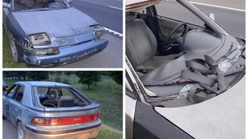 Szélvédők és rendszám nélküli autóval ment fel az M5-ösre okmányok nélkül