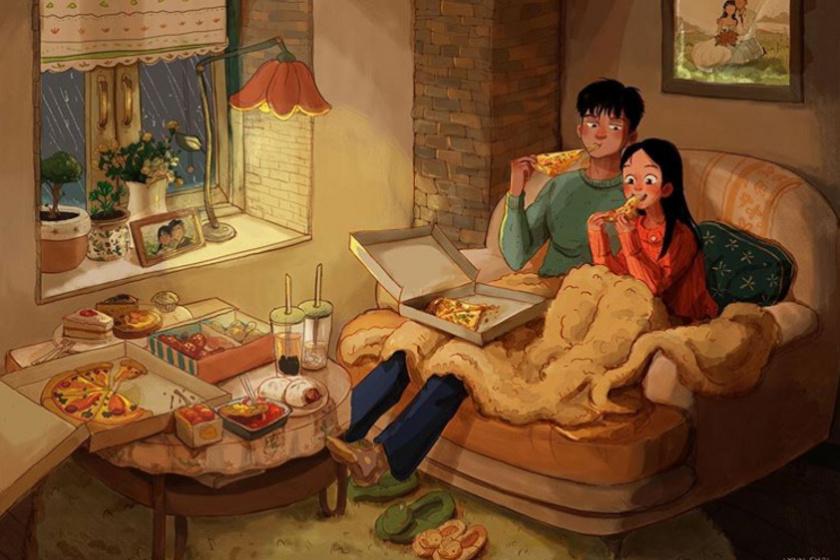 Lynn Choi képei megmutatják, milyen egy tartós kapcsolat, amikor senki nem látja. A hosszú szerelmekben egy pizzázással egybekötött filmnézés sokszor többet ér, mint egy gyertyafényes, éttermi vacsora.