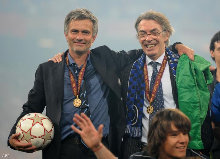 José Mourinho és Massimo Moratti, az Internazionale tulajdonosa a Bajnokok Ligája-győzelem után