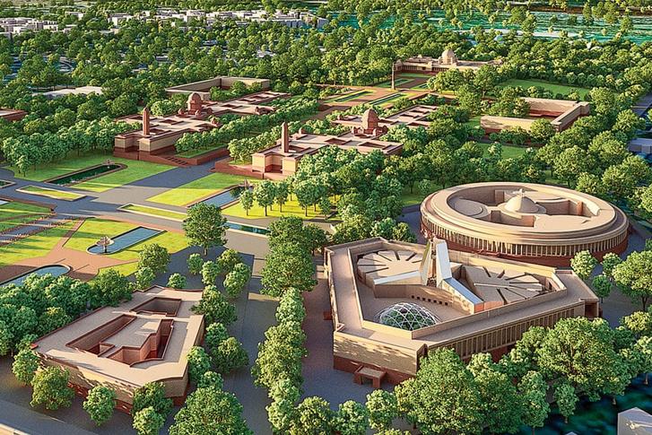 Az új indiai parlament látványterve, a háttérben a régi parlament kör alakú épülete