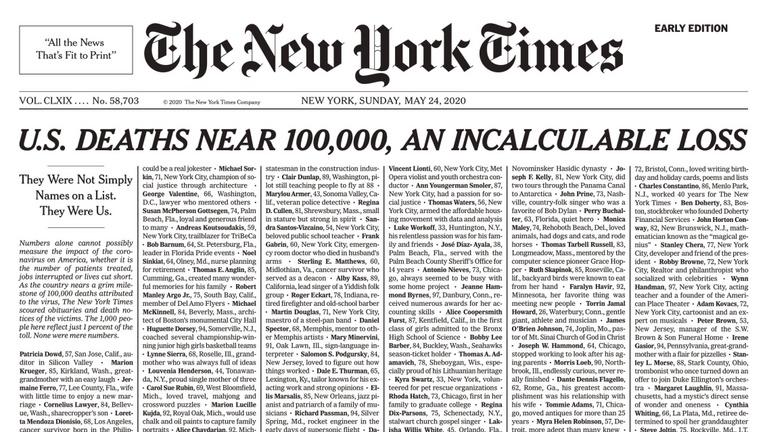 Senki nem csak egy statisztikai adat – 1000 koronavírus-áldozat neve a New York Times címlapján