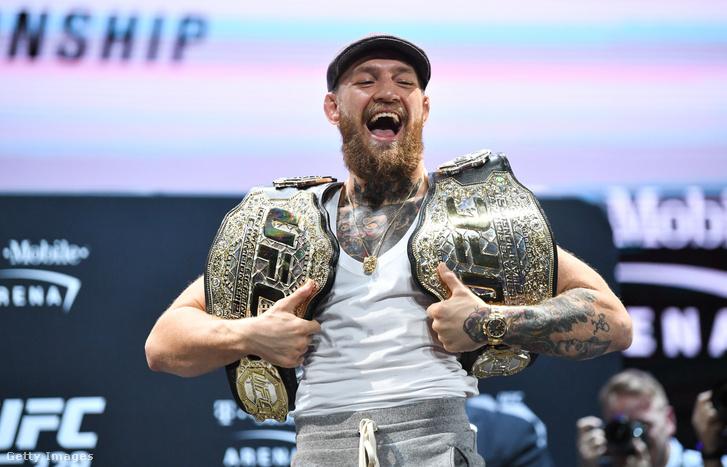 Conor McGregor 2018. október 4-én az UFC 229 sajtótájékoztatóján Las Vegasban.