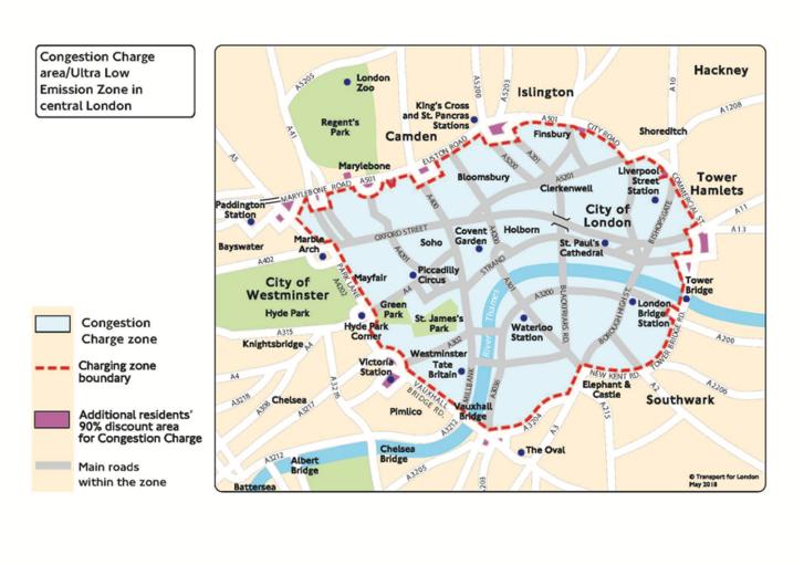 Dugódíj és Ultra Alacsony Kibocsátású Zóna (ULEZ) London belvárosában