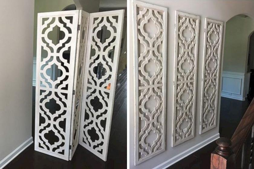 Szedj elemeire egy régi paravánt, és erősítsd fel falra felfúrt kampók segítségével: elegáns, kissé keleties jellegű dekorációt kapsz.