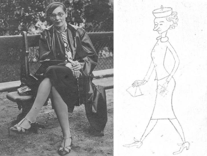 Berger (Windt) Júlia az 1930-as években Párizsban (archív fotó) / Ismeretlen alkotó karikatúrája Berger Juliskáról