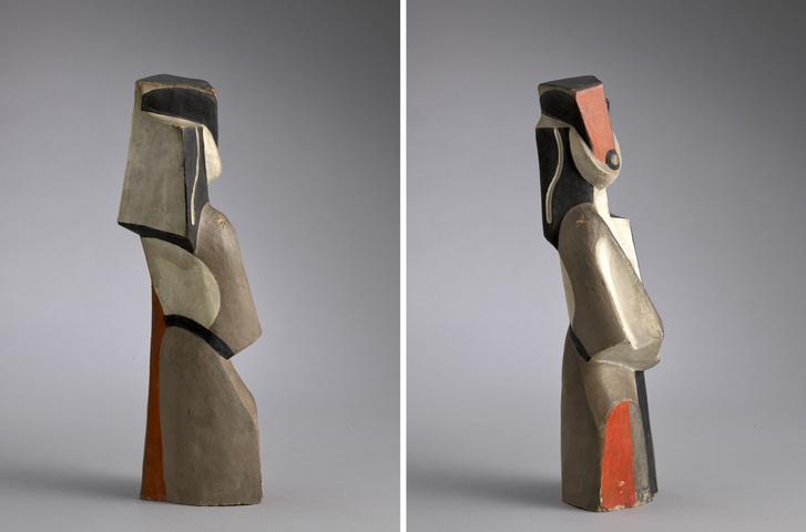 Csáky József Női figura című terrakottaszobrának két nézete, 1920.