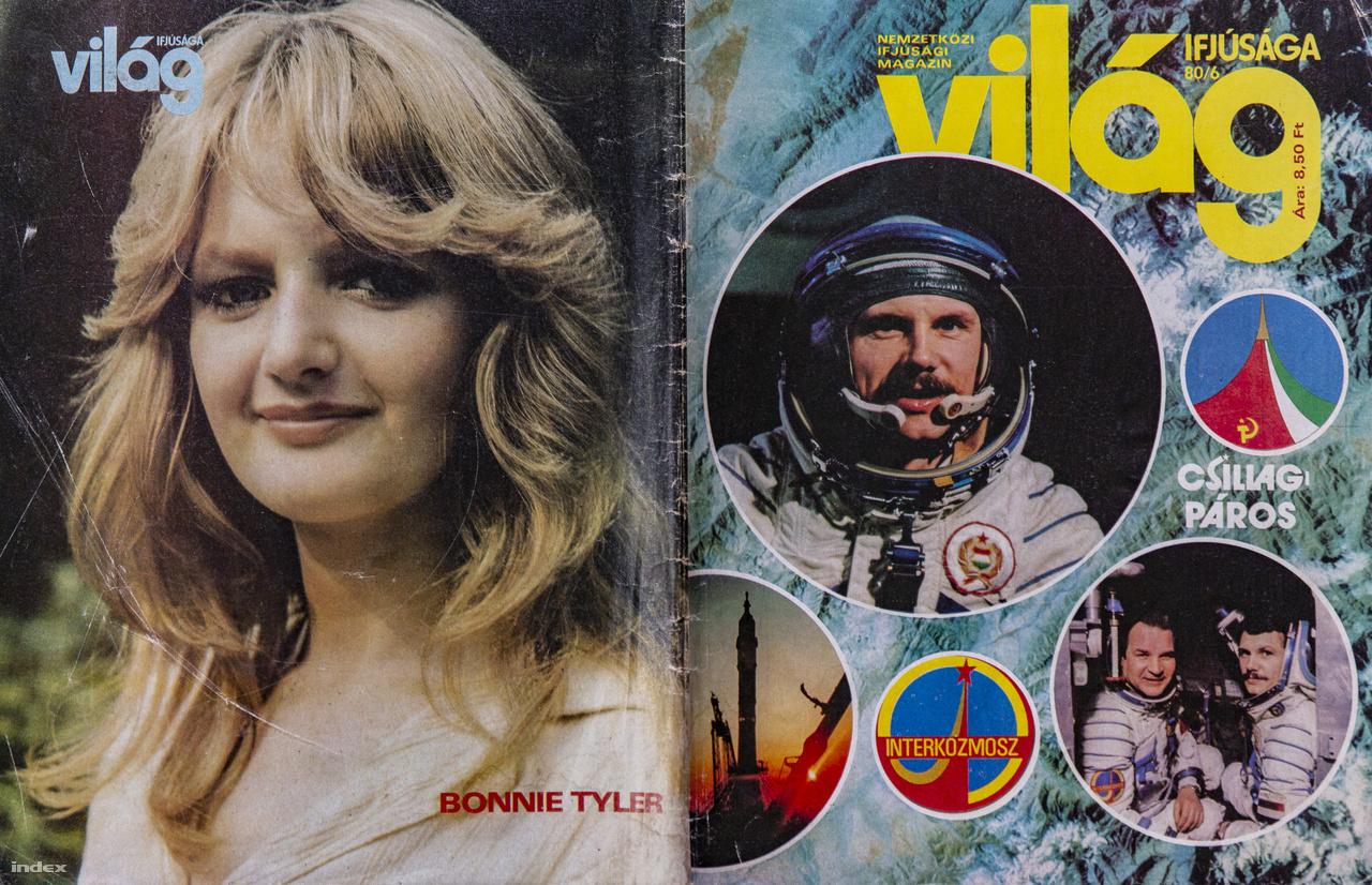 """A Világ Ifjúsága 1980/6-os számának borítója. Bonnie Tyler walesi rockénekesnő ekkor még kevésbé volt ismert hazánkban, nagy nemzetközi slágerével, a Holding Out for a Hero című alkotással csak 4 évvel később vélt világhírűvé. A szocialista ifjúsági képes magazin több oldalt is szentelt Farkas Bertalan és Valerij Kubaszov """"csillagpárosának""""."""