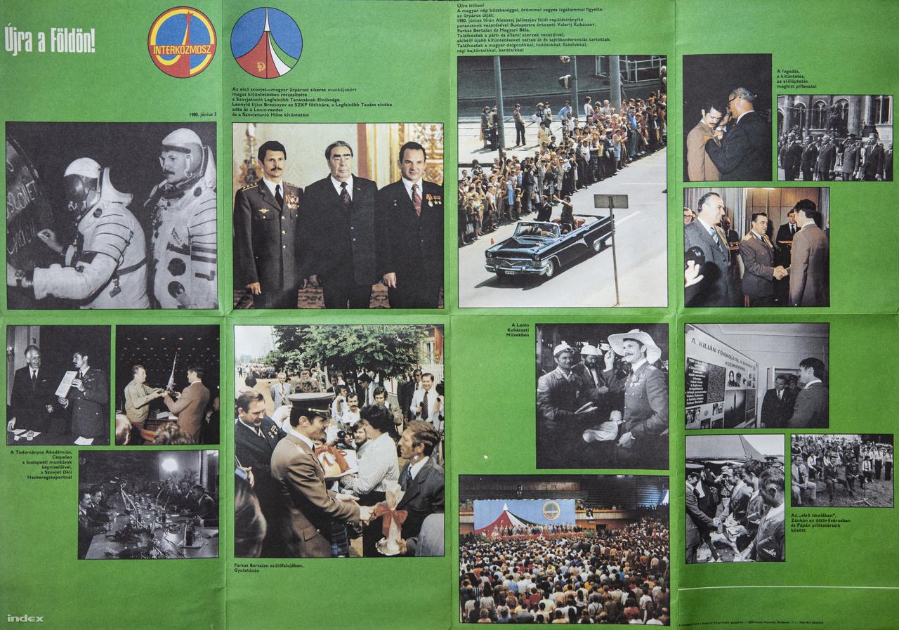 """Az """"Első szovjet-magyar űrrepülés"""" című kétoldalas plakátkiadvány feltehetőleg rengeteg iskolai és üzemi faliujságon megjelent."""