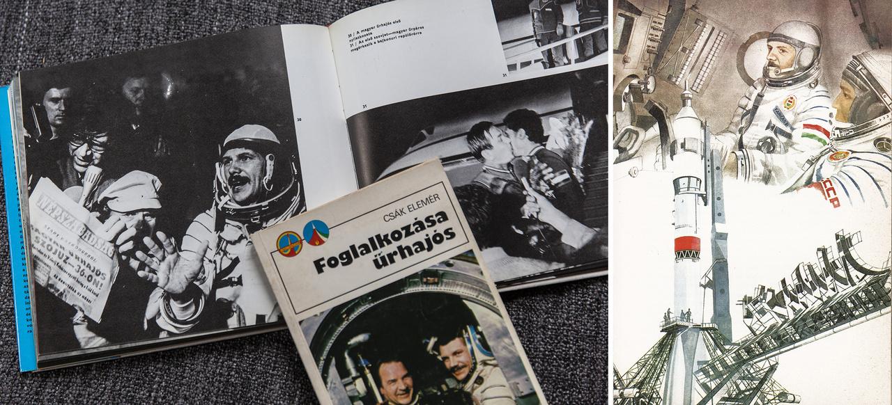 """Az űrhajós könyvkiadás is dübörgött. Csák Elemér újságíró, rádió- és TV-riporter, külföldi tudósító fotókkal bőségesen illusztrált riportkönyvet készített Farkas Bertalanról """"Foglalkozása ürhajós"""" címmel. A kötetet meglehetősen magas, ötvenezres példányszámban nyomtatták ki. A Zrínyi katonai kiadó 1981-ben jelentette meg tízezer példányban az Út a kozmoszba című fotóalbumot, Jurij Gagarin űrrepülésének 20. évfordulójára, egyben a szovjet-magyar közös űrutazás emlékére. Jobbra: Farkas Bertalan és Valerij Kubászov útban a Szaljut űrállomás felé – Varga Pál illusztrációja Berkes Péter: Égi utazók című könyvéből (Móra Ferenc Ifjúsági Könyvkiadó, Budapest, 1983)."""