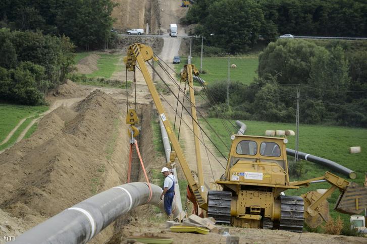 A Magyar Gáz Tranzit Zrt. fővállalkozója a magyar-szlovák összekötõ földgázszállító vezeték összehegesztett szakaszainak árokba fektetését végzi Felsőpetény közelében 2013. július 25-én.